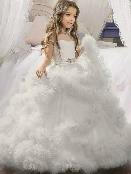 Ball Gown Sweep / Brush Train Wedding / Party Flower Girl Dresses - Tulle Sleeveless Jewel Neck With Solid / Tiered_5