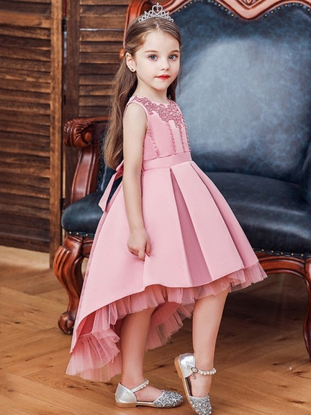 Princess / Ball Gown Knee Length Wedding / Party Flower Girl Dresses - Lace / Satin Sleeveless Jewel Neck With Sash / Ribbon / Pleats / Embroidery_3
