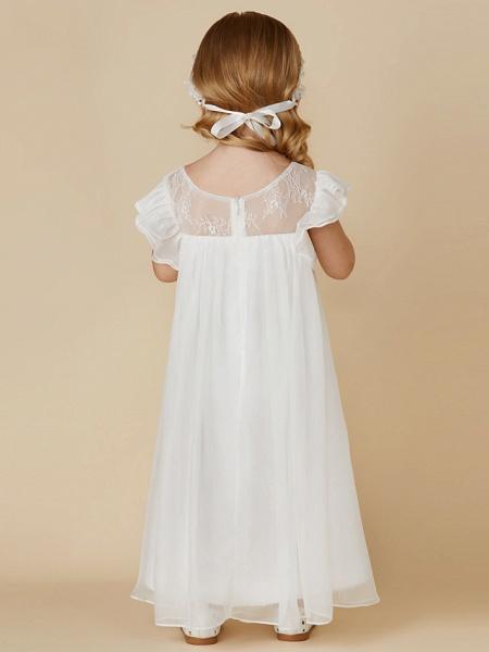Sheath / Column Ankle Length Chiffon / Lace Short Sleeve Jewel Neck With Pleats_3