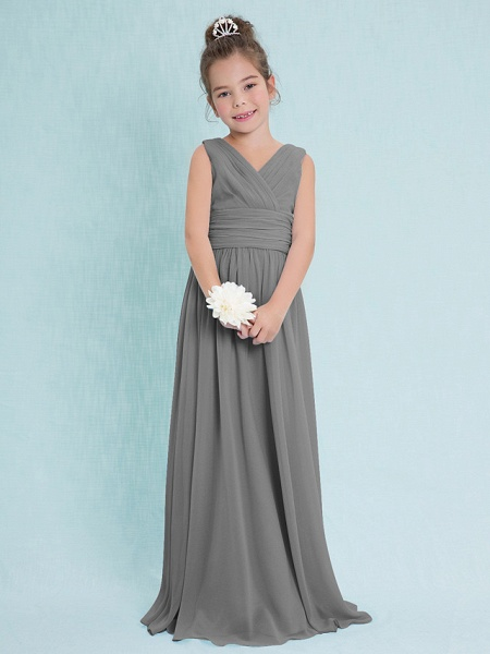 Sheath / Column V Neck Floor Length Chiffon Junior Bridesmaid Dress With Criss Cross / Ruched / Natural_24