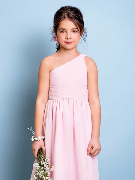 A-Line One Shoulder Knee Length Chiffon Junior Bridesmaid Dress With Ruched / Draping / Side Draping / Natural_5