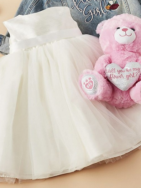 A-Line Ankle Length Wedding Flower Girl Dresses - Tulle Sleeveless Jewel Neck With Beading / Solid_5