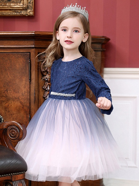 Princess / Ball Gown Tea Length Wedding / Party Flower Girl Dresses - Tulle Long Sleeve Jewel Neck With Crystals / Splicing_4