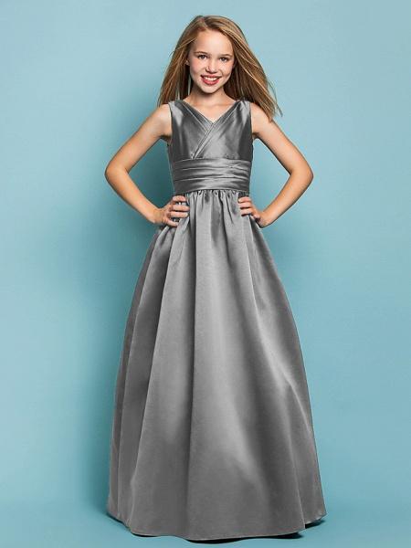 Princess / A-Line V Neck Floor Length Satin Junior Bridesmaid Dress With Sash / Ribbon / Criss Cross / Spring / Summer / Fall / Apple / Hourglass_24