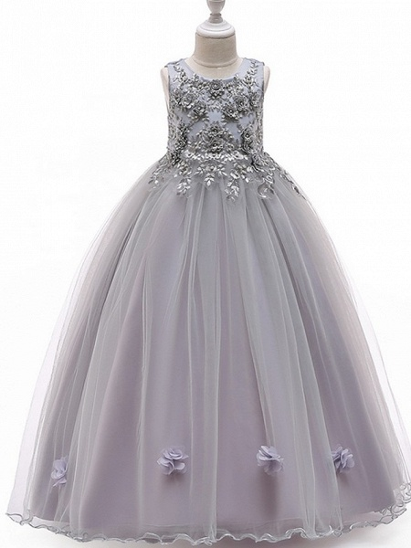 A-Line Floor Length Pageant Flower Girl Dresses - Tulle Sleeveless Jewel Neck With Bow(S) / Beading / Appliques_5