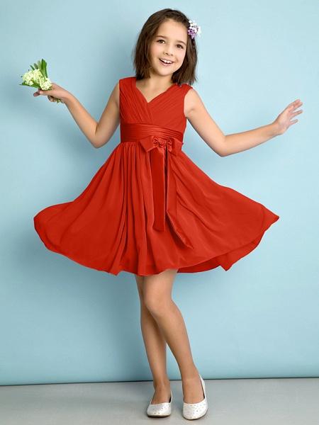 A-Line V Neck Knee Length Chiffon Junior Bridesmaid Dress With Bow(S) / Criss Cross / Natural_13