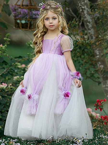 Princess Floor Length Pageant Flower Girl Dresses - Polyester Short Sleeve Scoop Neck With Splicing_3