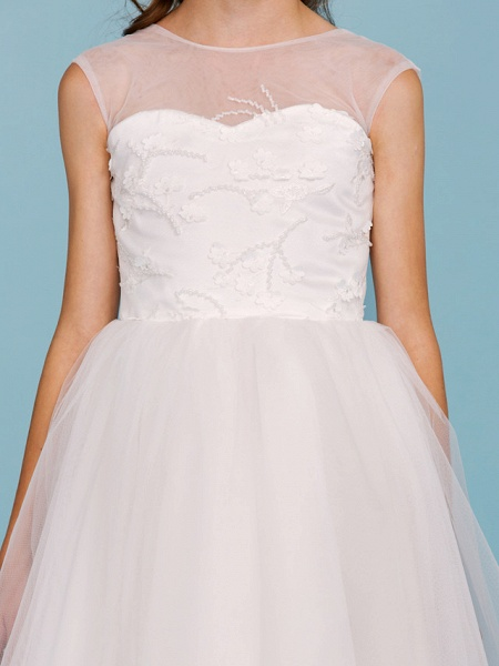 Ball Gown Crew Neck Asymmetrical Tulle Junior Bridesmaid Dress With Beading / Wedding Party / Open Back_8