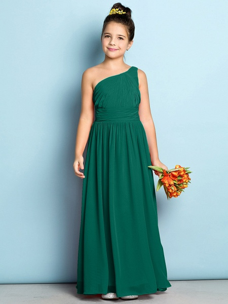 A-Line One Shoulder Ankle Length Chiffon Junior Bridesmaid Dress With Side Draping / Natural / Mini Me_25