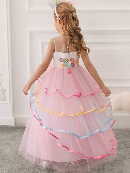 Princess / Ball Gown Floor Length Wedding / Party Flower Girl Dresses - Tulle Sleeveless Illusion Neck With Appliques / Cascading Ruffles_4