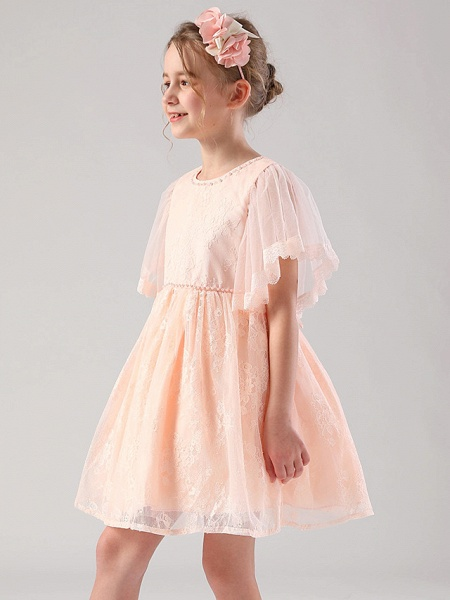Princess / Ball Gown Medium Length Wedding / Event / Party Flower Girl Dresses - Lace / Tulle Half Sleeve Jewel Neck With Beading / Butterfly / Solid_6
