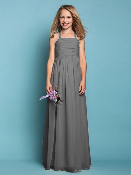 Sheath / Column Halter Neck Floor Length Chiffon Junior Bridesmaid Dress With Ruched / Spring / Summer / Fall / Apple / Hourglass_25