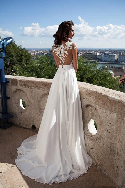 Chiffon Lace Appliques Sleeveless Boho Wedding Dress_10