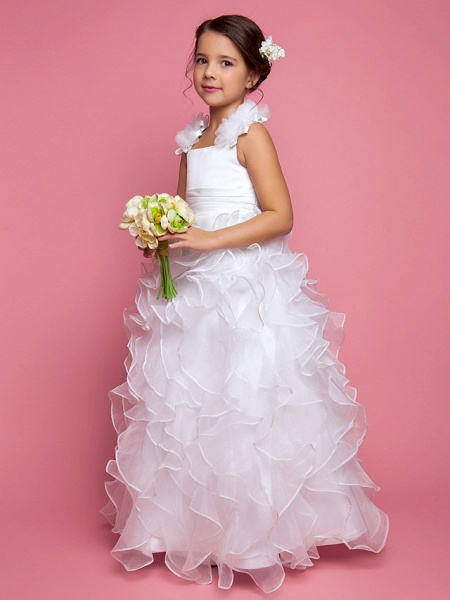 Princess / A-Line Floor Length Organza / Satin Sleeveless Straps With Sash / Ribbon / Ruched / Cascading Ruffles_2