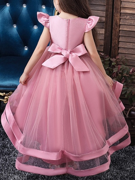 A-Line Asymmetrical Pageant Flower Girl Dresses - Tulle Sleeveless Jewel Neck With Bow(S) / Beading / Tier_2