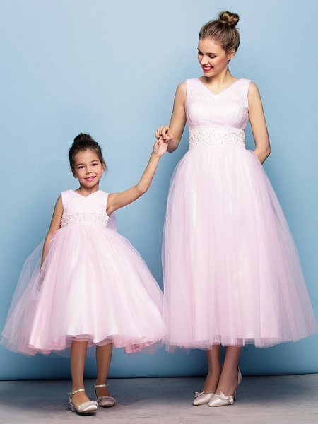 Ball Gown Tea Length Party / Holiday / Cocktail Party Flower Girl Dresses - Tulle Sleeveless V Neck With Criss Cross / Pearls / Beading / Formal Evening / Mini Me_2
