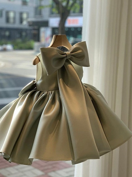 Princess / Ball Gown Short / Mini Wedding / Party Flower Girl Dresses - Satin Sleeveless Square Neck With Bow(S) / Pleats_2