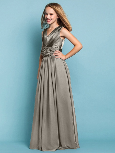 Sheath / Column V Neck Floor Length Chiffon Junior Bridesmaid Dress With Flower / Spring / Summer / Fall / Apple / Hourglass_11