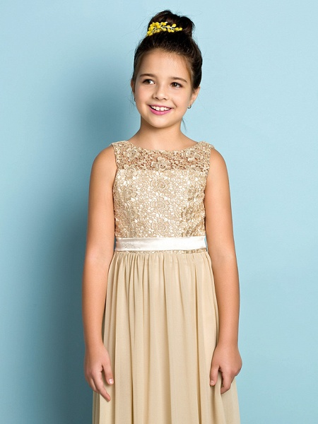 A-Line Scoop Neck Floor Length Chiffon / Lace Junior Bridesmaid Dress With Lace / Natural / Mini Me_6