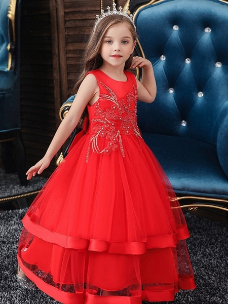 Princess / Ball Gown Floor Length Wedding / Party Flower Girl Dresses - Tulle Sleeveless Jewel Neck With Bow(S) / Appliques / Cascading Ruffles_3