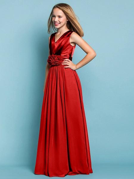 Sheath / Column V Neck Floor Length Chiffon Junior Bridesmaid Dress With Flower / Spring / Summer / Fall / Apple / Hourglass_22