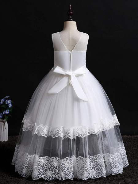 Princess Floor Length Wedding / Birthday Lace / Tulle / Polyester Sleeveless Jewel Neck With Lace / Bow(S) / Pearls_2
