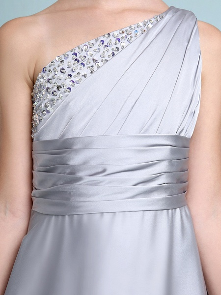 Sheath / Column One Shoulder Floor Length Chiffon Satin Junior Bridesmaid Dress With Ruched / Side Draping / Natural_9