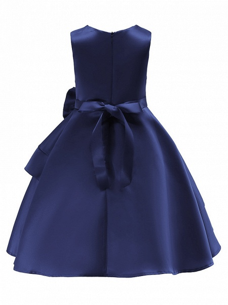 Ball Gown Knee Length Wedding / Party Flower Girl Dresses - Tulle Sleeveless Jewel Neck With Bow(S) / Tier_7