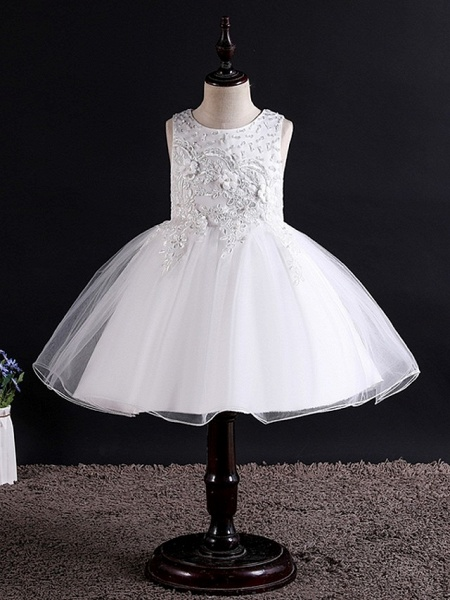 Princess / Ball Gown Knee Length Wedding / Party Flower Girl Dresses - Tulle Sleeveless Jewel Neck With Bow(S) / Beading / Appliques_6
