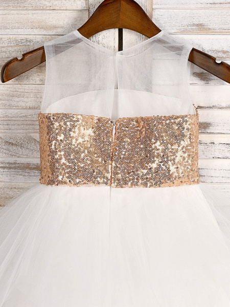 A-Line Tea Length Wedding / First Communion / Pageant Flower Girl Dresses - Tulle / Sequined Sleeveless Jewel Neck With Belt_4