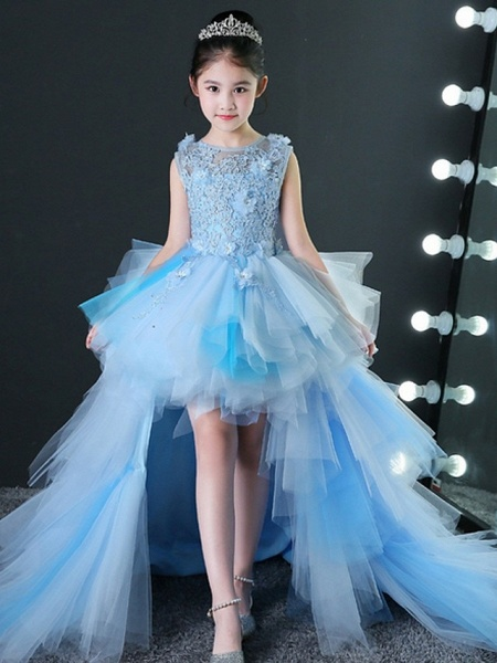 A-Line Asymmetrical Wedding / Pageant Flower Girl Dresses - Tulle Sleeveless Jewel Neck With Tier / Appliques_2