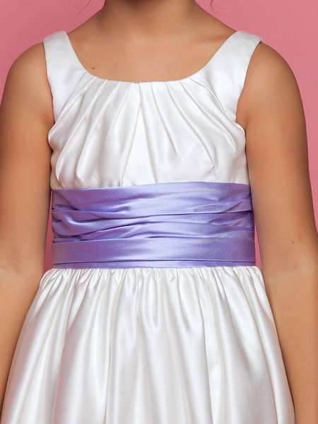 Princess / A-Line Ankle Length Satin Sleeveless Square Neck With Sash / Ribbon / Ruched / Side Draping_6