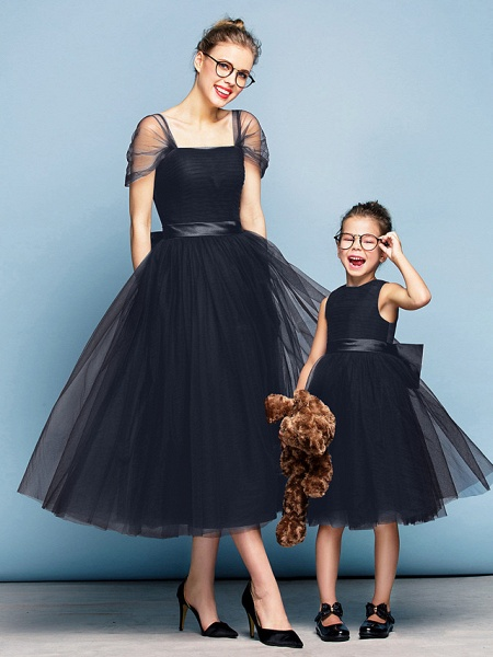 Princess Tea Length Party / Prom / Formal Evening Flower Girl Dresses - Tulle Short Sleeve Square Neck With Bow(S) / Ruched / Elegant_35
