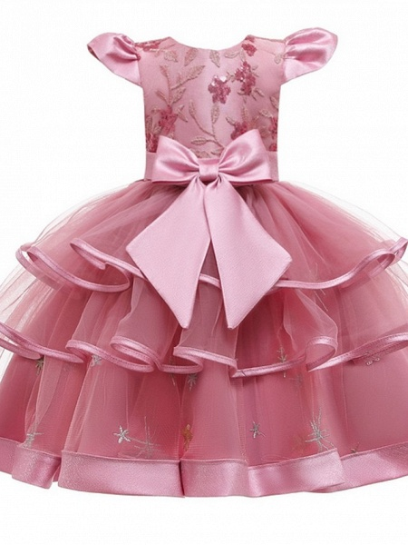 Princess / Ball Gown Knee Length Wedding / Party Flower Girl Dresses - Tulle Short Sleeve Jewel Neck With Bow(S) / Embroidery / Cascading Ruffles_8