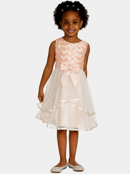A-Line Knee Length Wedding / Party Flower Girl Dresses - Satin / Tulle Sleeveless Jewel Neck With Bow(S) / Appliques_1