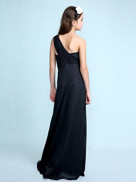 Sheath / Column One Shoulder Floor Length Chiffon Junior Bridesmaid Dress With Side Draping / Natural_2