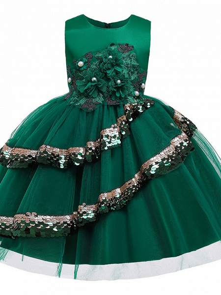 Princess Knee Length Pageant Flower Girl Dresses - Poly / Polyester / Cotton Sleeveless Jewel Neck With Butterfly Design / Beading / Appliques_3