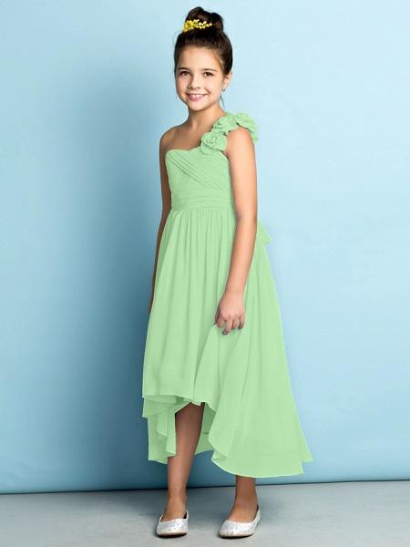 A-Line One Shoulder Asymmetrical Chiffon Junior Bridesmaid Dress With Criss Cross / Flower / Natural / Mini Me_32