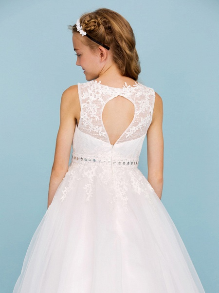Ball Gown Crew Neck Ankle Length Lace / Tulle Junior Bridesmaid Dress With Sash / Ribbon / Beading / Appliques / Wedding Party_6