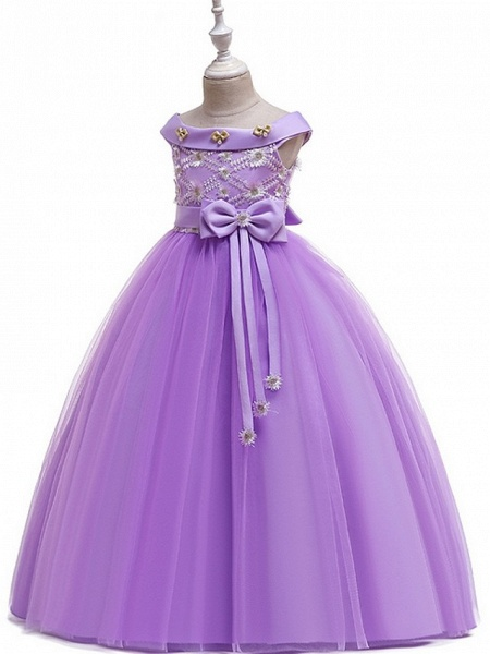 Princess / Ball Gown Floor Length Wedding / Party Flower Girl Dresses - Tulle Short Sleeve Off Shoulder With Sash / Ribbon / Bow(S) / Appliques_11