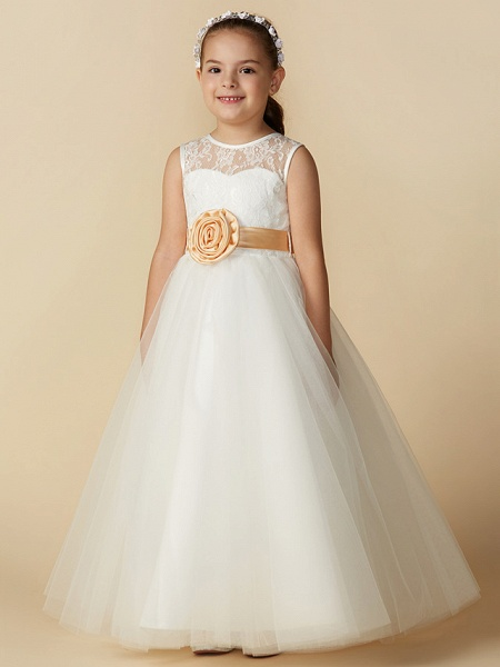 Princess Ankle Length Wedding / First Communion Flower Girl Dresses - Lace / Tulle Sleeveless Jewel Neck With Sash / Ribbon / Bow(S) / Flower_5