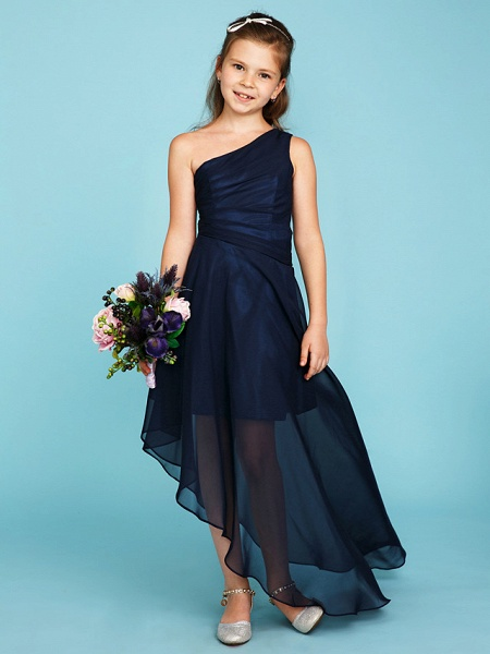 A-Line One Shoulder Asymmetrical Chiffon Junior Bridesmaid Dress With Side Draping / Wedding Party_3