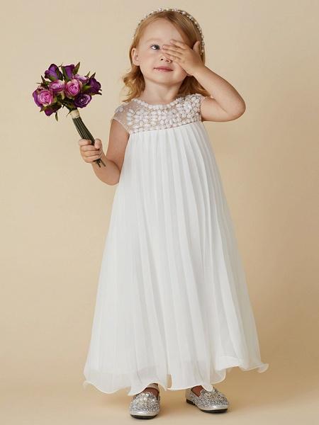 Sheath / Column Knee Length Wedding / First Communion / Holiday Flower Girl Dresses - Chiffon Short Sleeve Jewel Neck With Beading / Draping_4