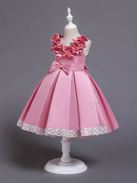Princess Knee Length Wedding / Party / Pageant Flower Girl Dresses - Satin / Cotton Sleeveless Jewel Neck With Petal / Belt / Bow(S)_2