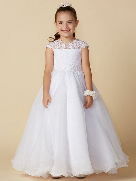 Ball Gown Ankle Length Wedding / First Communion Flower Girl Dresses - Lace / Tulle Short Sleeve Jewel Neck With Beading / Appliques_3
