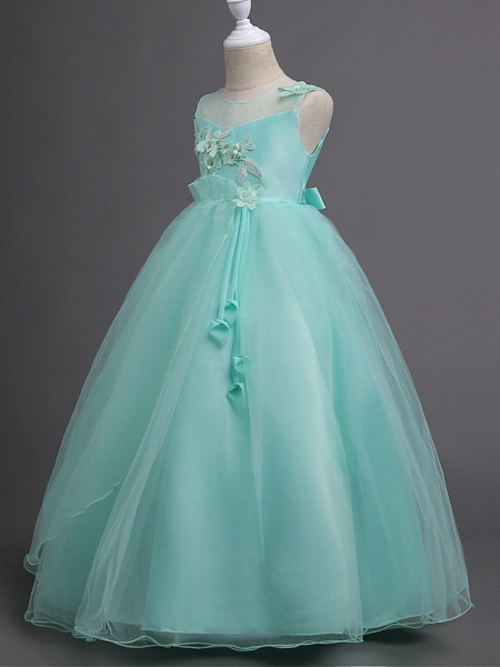 Princess Long Length Wedding / First Communion Satin / Tulle Sleeveless Jewel Neck With Belt / Appliques_12