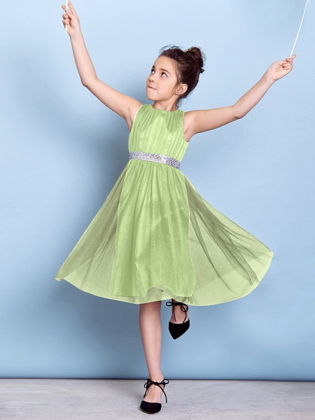 A-Line Jewel Neck Knee Length Tulle Junior Bridesmaid Dress With Sash / Ribbon / Sequin / Draping / Natural_30