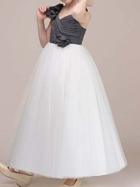 Ball Gown Floor Length Pageant Flower Girl Dresses - Polyester Sleeveless Spaghetti Strap With Color Block_2