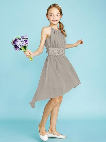Sheath / Column Jewel Neck Asymmetrical Chiffon Junior Bridesmaid Dress With Sequin / Natural_14