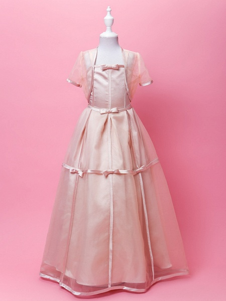 Princess / A-Line Floor Length Wedding Party Organza / Stretch Satin Sleeveless Spaghetti Strap With Sash / Ribbon / Bow(S) / Buttons / Spring / Fall / Winter_1